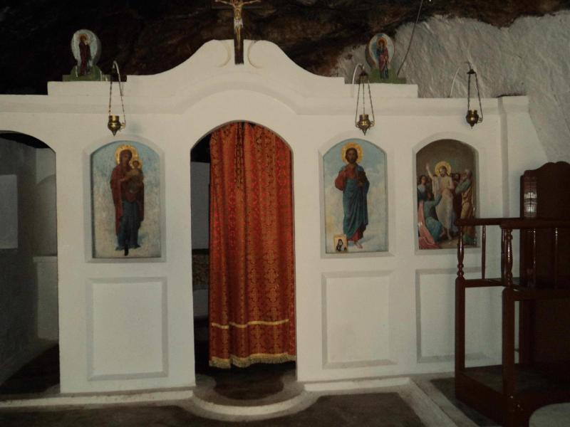 The chapel inside Milatos Cave.