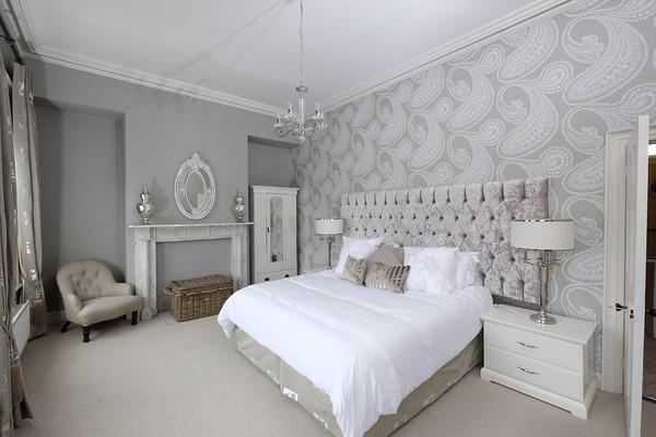 The master bedroom, with superking bed, overlooking Lough Erne and gates of Portora Royal School.