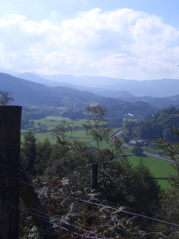 View of Lledr Valley with Dolwyddelan in the distance.
