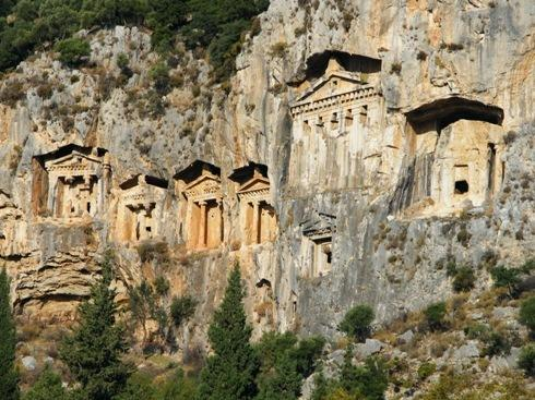 LYCIAN ROCK TOMBS, KAUNOS DALYAN. Photo taken from Zeytin Koru.