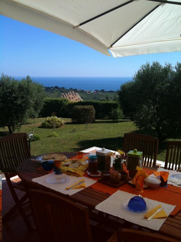 colazione in terrazzo con vista mare