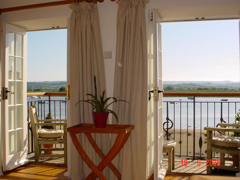 From lounge looking through french doors to estuary