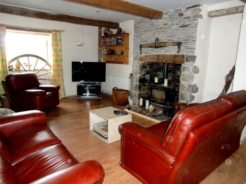 Sitting room with woodburner and 42 inch 3D TV
