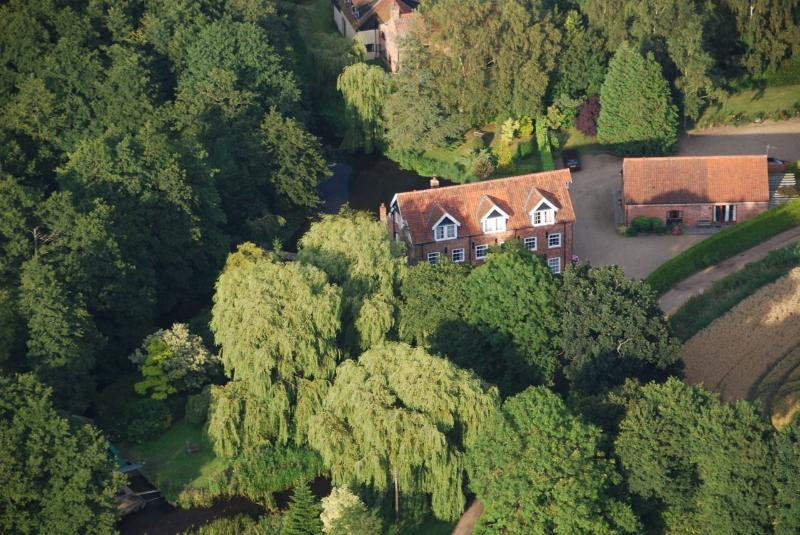 Aerial view of the Mill (centre) and the cottages (far right)