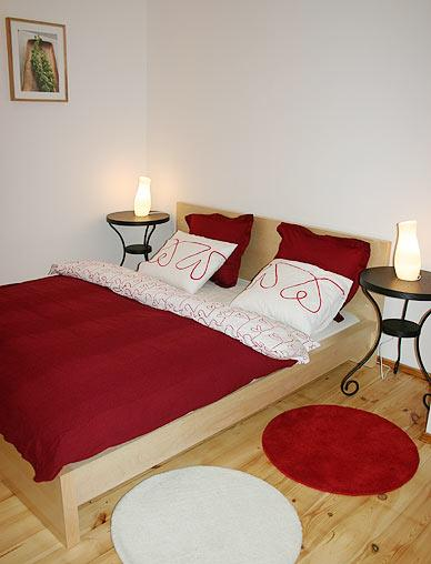 Comfortable, large double bed in quiet bedroom