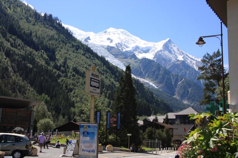 View of Mont Blanc in front of apartment building