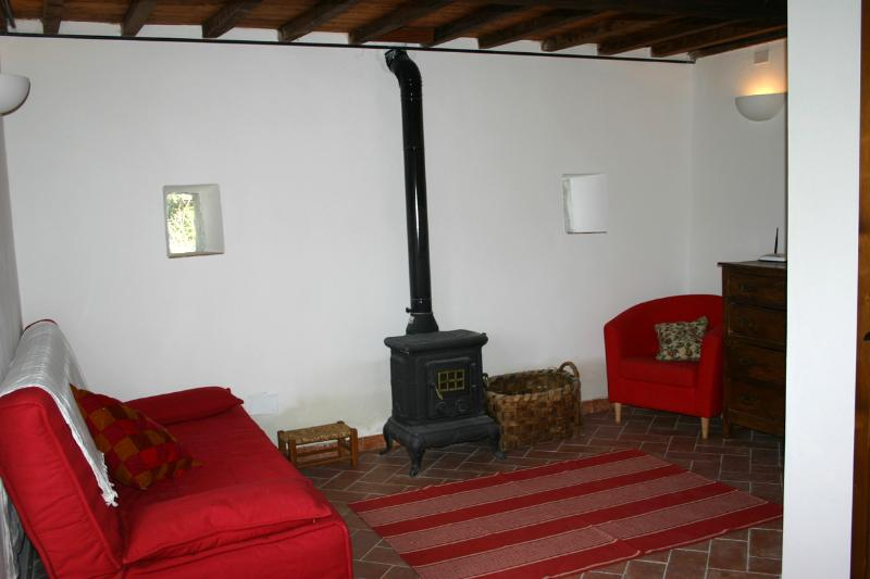 The downstairs living room in the cottage
