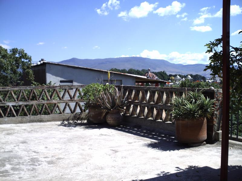 outside patio with rooftop view