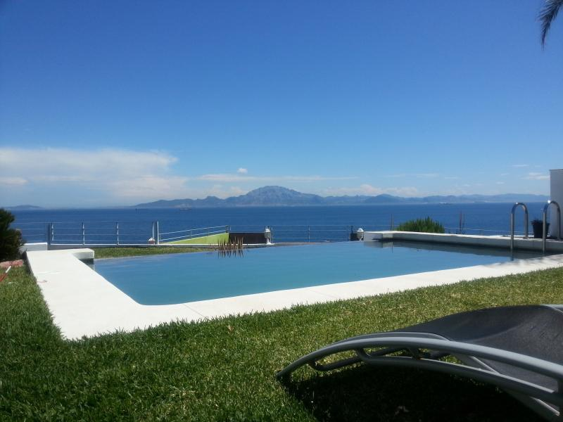 View on the Strait of Gibraltar and Africa from the garden, villa and pool