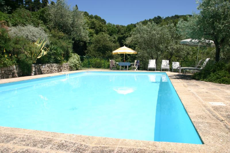 Large, secluded pool with all day sunshine; 10 sun loungers, 2 parasols and table/4 chairs