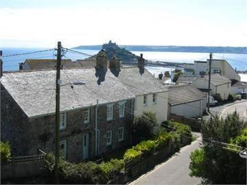 Trevenner e St Michaels Mount e mar, do ar.