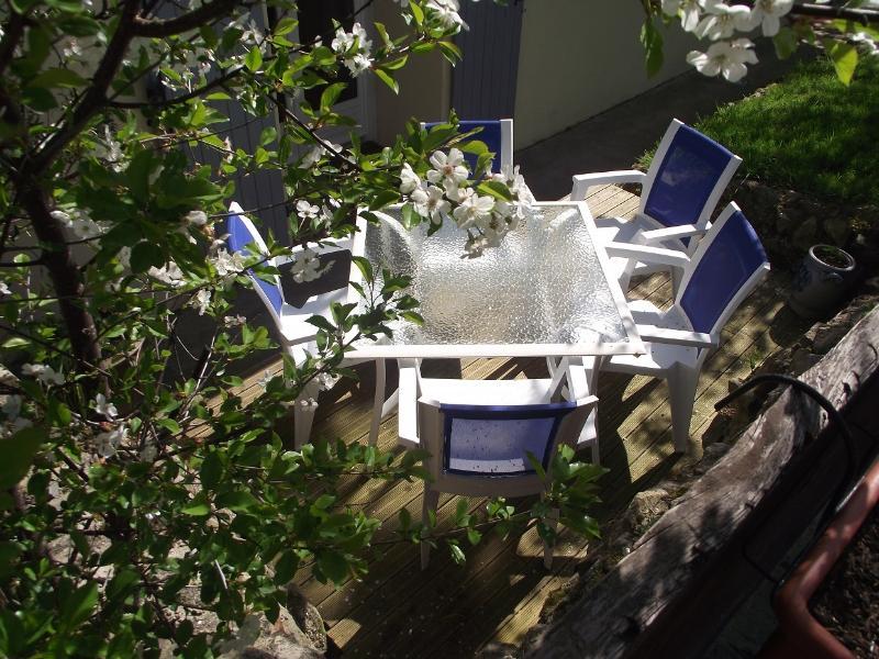 Une terrasse , un salon de jardin..
