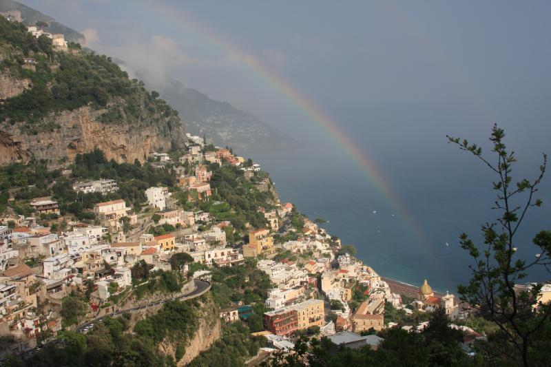 stunning view over positano from terrace