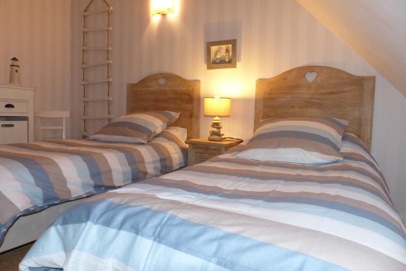 Chambre avec 2 lits simple et rangements