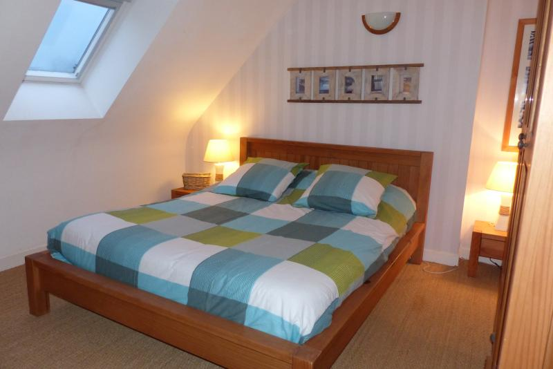 Room with double bed and storage space