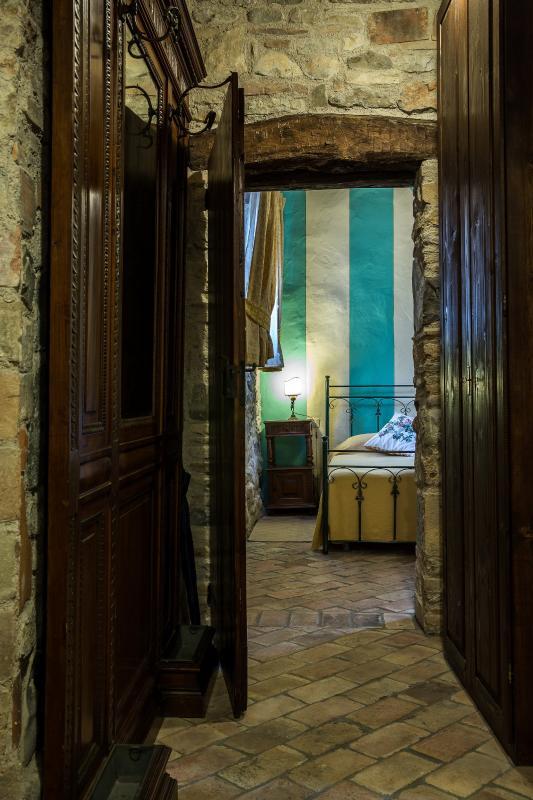 Casa Artuico: looking towards south, corridor to bedroom