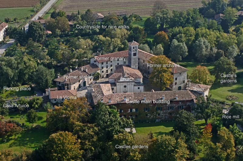 Airview picture with description, taken before renovation of casa Artuico, tower and rice mill