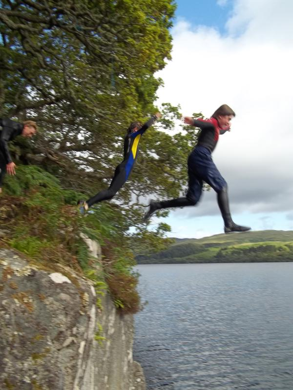 Rock jumping into Loch Awe!