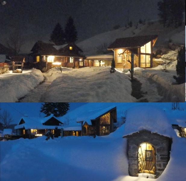 ski chalet at night