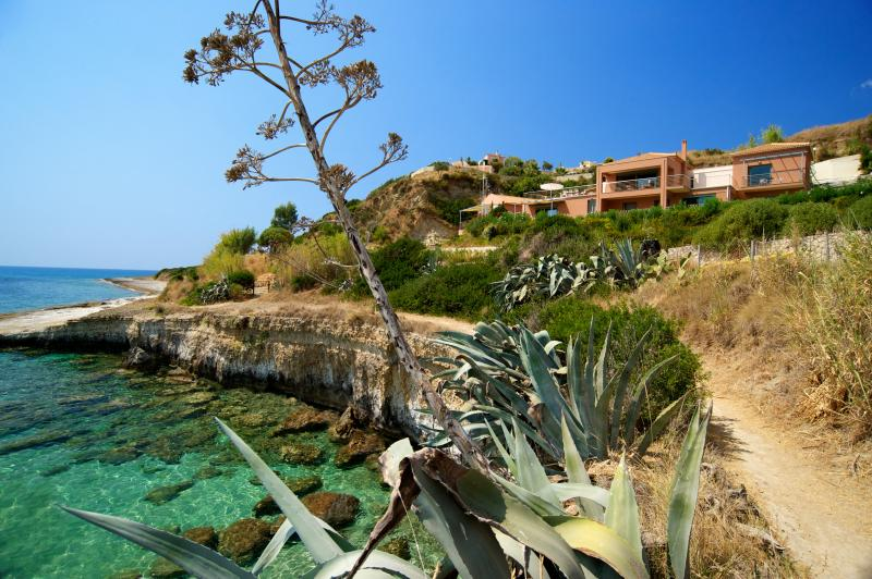 Villa Avali, overlooking blue-green crystal-clear seawater, our 'natural swimming pool'.