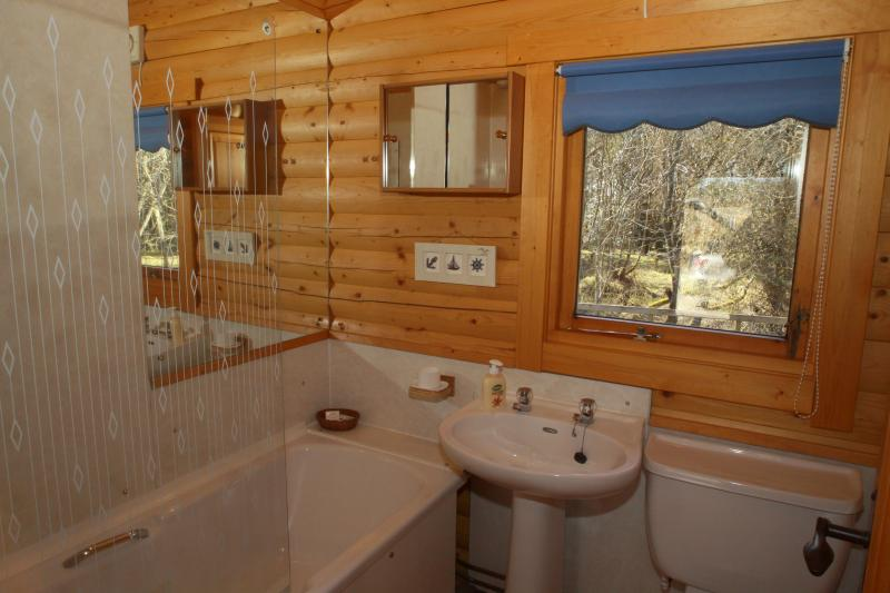 Bathroom with bath and overhead shower WC and wash basin