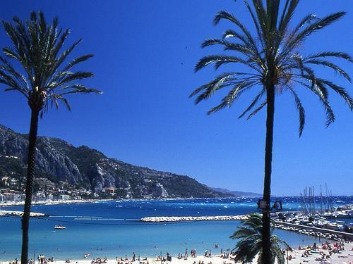 Menton sandy beach - view to Italian Riviera coast