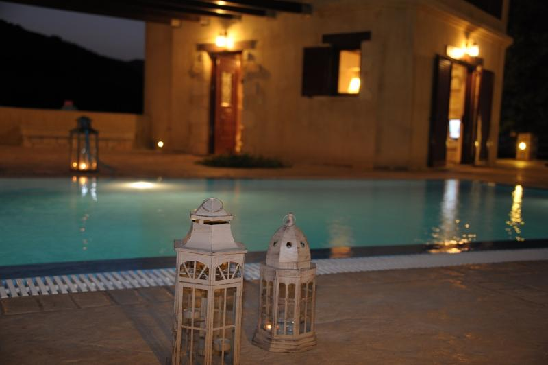 Villa Rosa swimming pool night