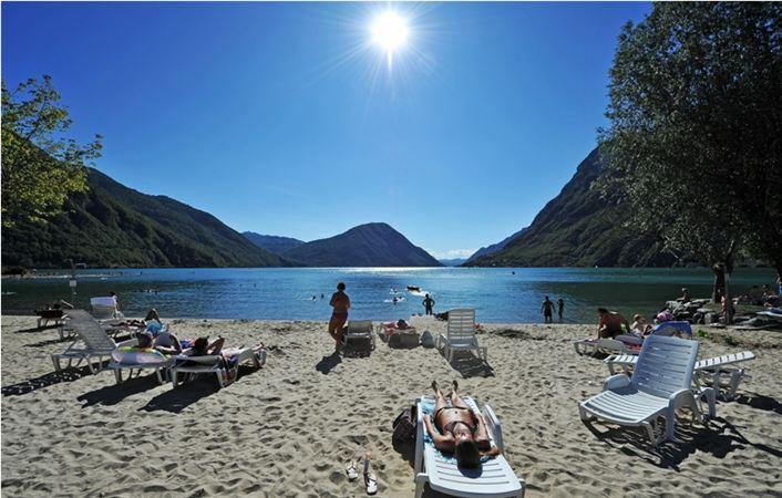 The beautiful private beach at the Porto Letizia Residence