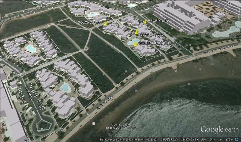 resort area, with group IV and position of bungalows golondrina1 and 2