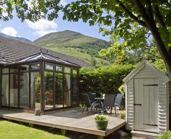 Enclosed private garden with views to the surrounding hills