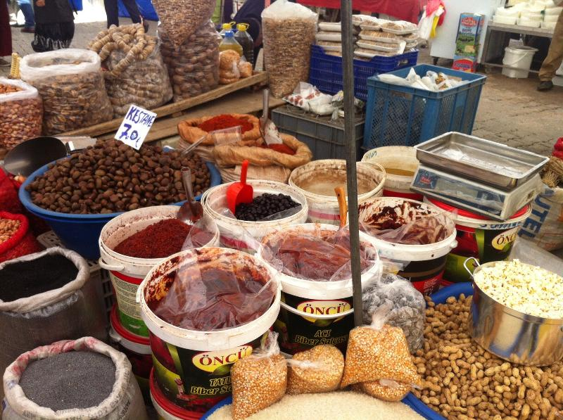 Local market, fresh produce and spices