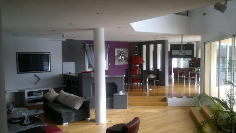 Open plan living area with cinema screen, flat screen UK & French TV, DVD, MP3 etc.