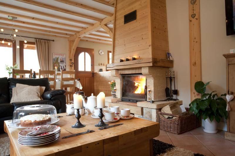 kick back and relax with roaring log fire and freshly baked cakes