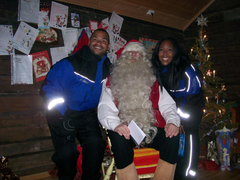 2009 Children in Need trip - Angellica and Michael visiting Santa