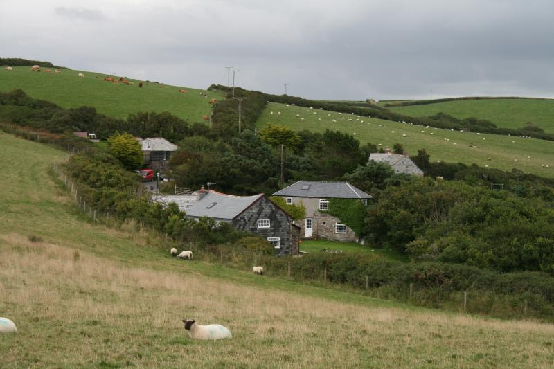 View of Cleave Farm cottages from coast path