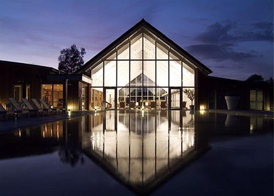 The fantastic Luxury Spa facility, at night time, complete with an amazing heated outdoor pool