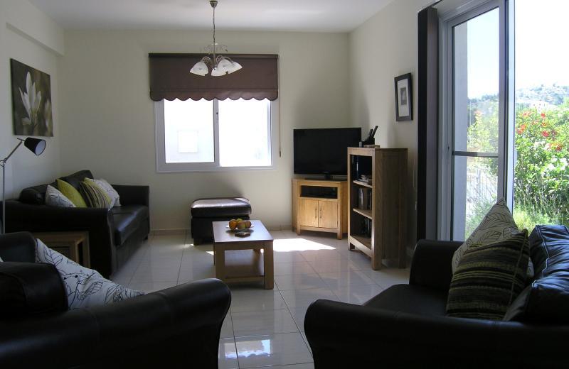 Spacious lounge with plush leather sofas.