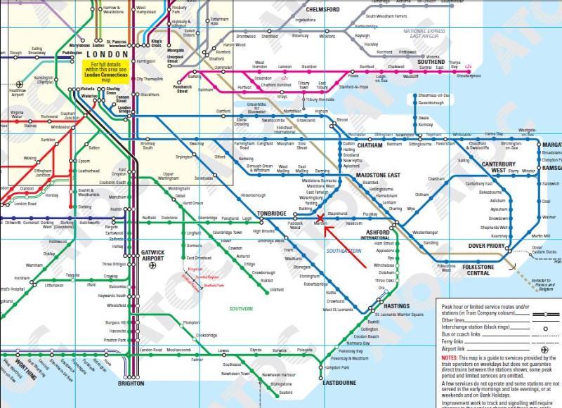 Mapa ferroviario de Londres y el sureste del país