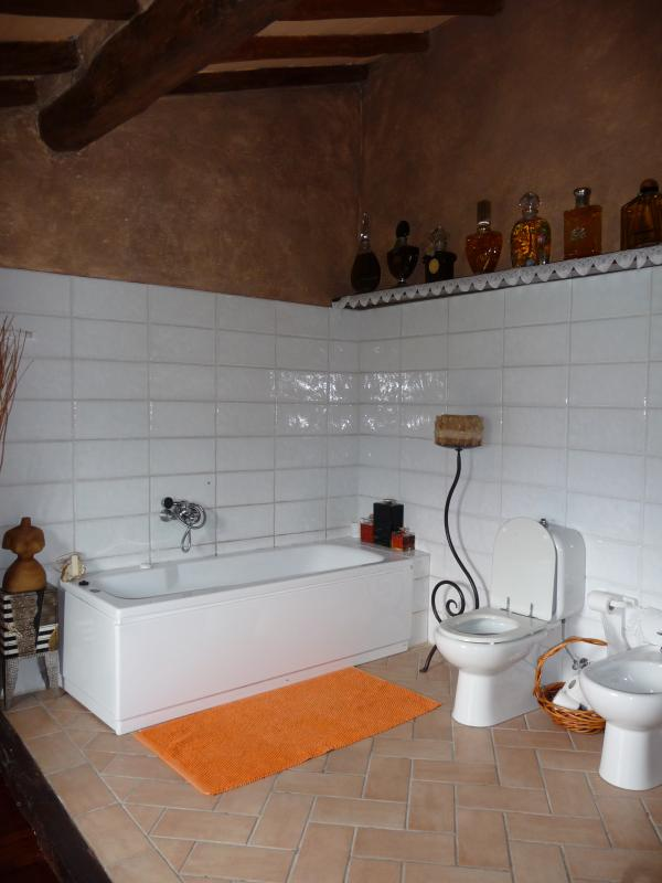 Master ensuite bathroom with bathtub and shower