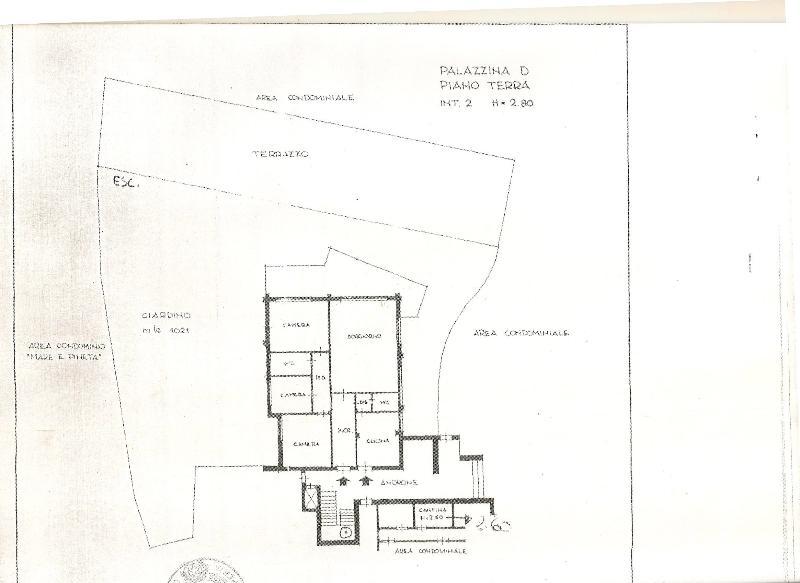 Floor plan of apartment, garden and terraces.
