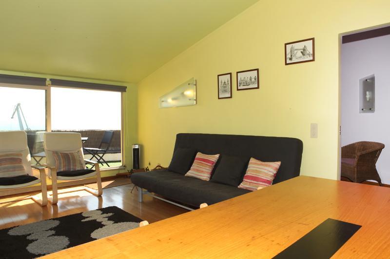 Salle de séjour avec canapé-lit double, assez confortable pour jusqu'à 3 personnes assises