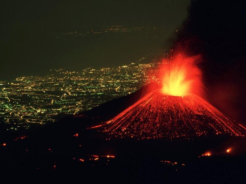 Etna, constantly working, 15 km's away