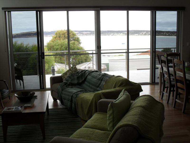 Looking outside through the lounge area.