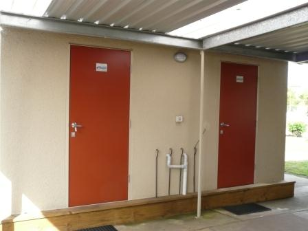 Male and Female Showers and toilets/sink, mirror. Hot water on demand!