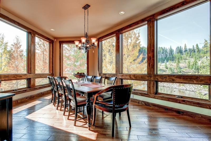 Remodeled Dining Room with Floor to Ceiling Mountain and River Views