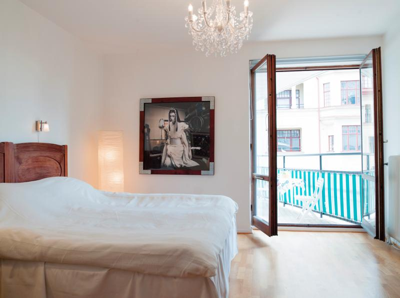One large bedroom with a 1.8 metre (71 in.) double bed. With exit to the large balcony.