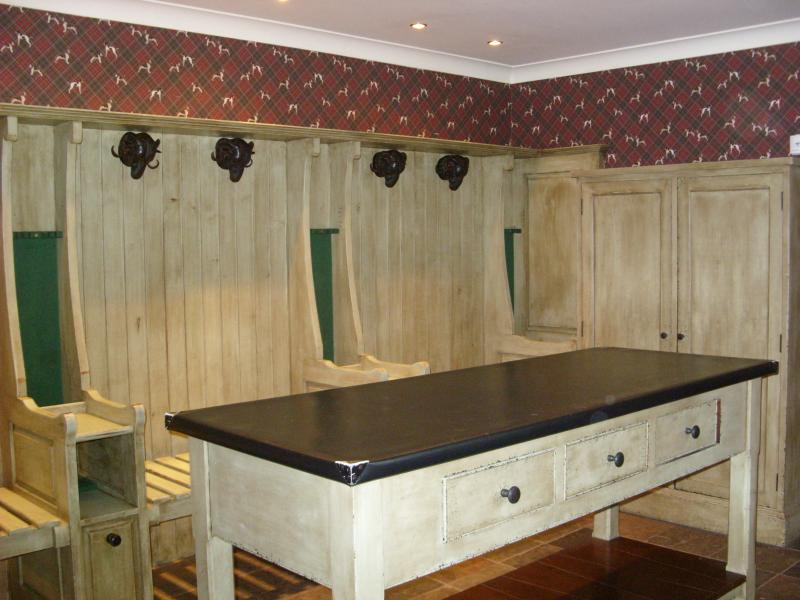 Cloakroom with sink,safe and toilet. Plenty of space for walking boots, cycles,golf clubs and pets.