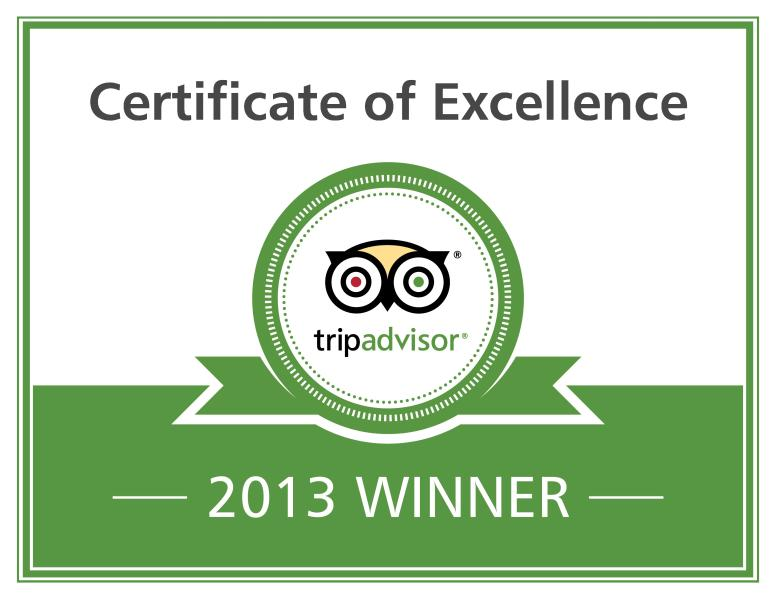 Pleased to announce our Trip Advisor certificate of excellence 2 years running !!!