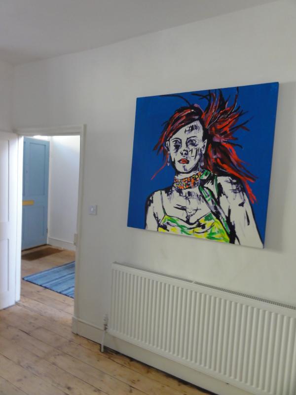 Funky artworks adorn the walls