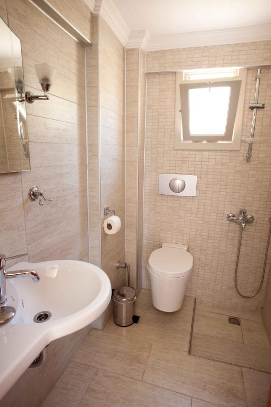 Small down stairs bathroom including washmachine.
